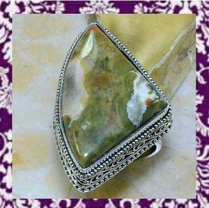 Ocean Jasper ~ Antique Design 925SS Ring